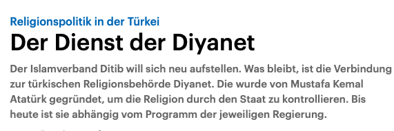 "Towards entry ""Religious Policies in Turkey – the service of Diyanet: Hüseyin Çiçek on Deutschlandfunk"""